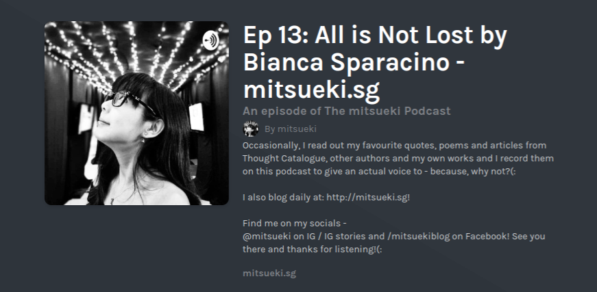 The Mitsueki Podcast Ep 13   All is Not Lost by Bianca